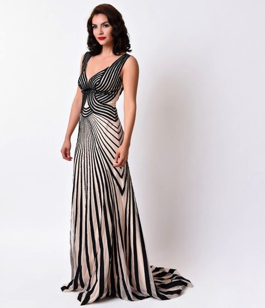 Striped Art Deco Evening Gown Deco Shop
