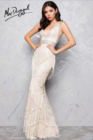 Vintage Flapper Fringe Wedding Dress   Mac Duggal 50404D
