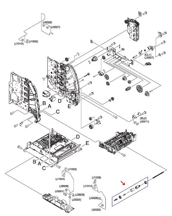 Color LaserJet 3500 3550 3700 5200 Pickup Roller Assembly