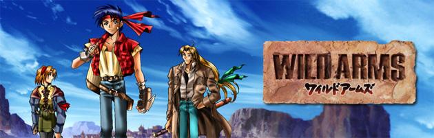 Wild Arms logo japonés y personajes