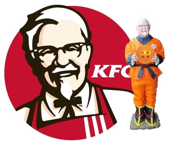 Dragon ball KFC El Coronel Sanders de KFC se viste de Son Goku