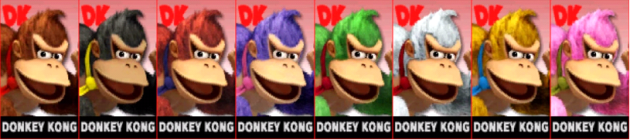 Donkey Kong Palette Super Smash Bros 3DS