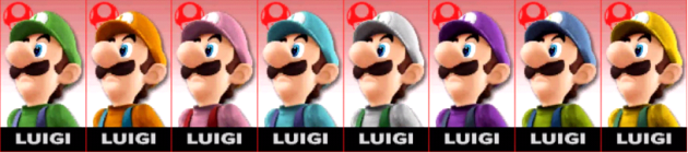Luigi Palette Super Smash Bros 3DS