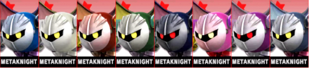 Metaknight Palette Super Smash Bros 3DS