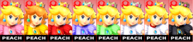 Peach Palette Super Smash Bros 3DS