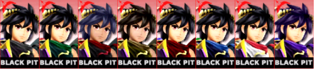 Pit Sombrio Palette Super Smash Bros 3DS
