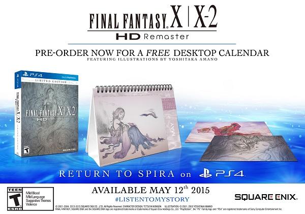 Final Fantasy X X2 HD PS4 calendario