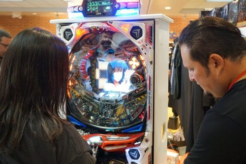 Mike and his Macross Pachinko machine.