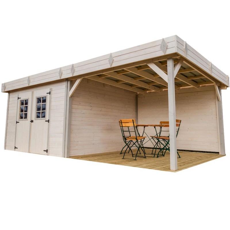 abri de jardin madriers bois massif 20 64m avec terrasse couverte et toit plat acier