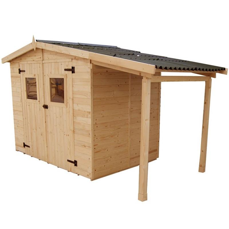 abri de jardin 5 04m avec bucher et plancher bois