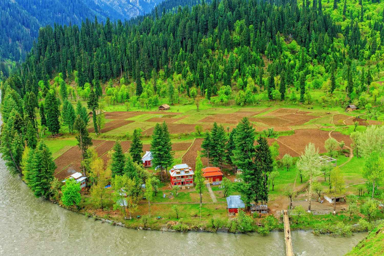 An aerial view of taobat Valley Kashmir