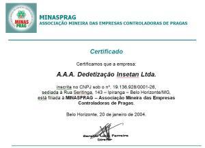 Inetan, filiada à Minasprag - Associação Mineira das empresas controladoras de pragas - Certificado