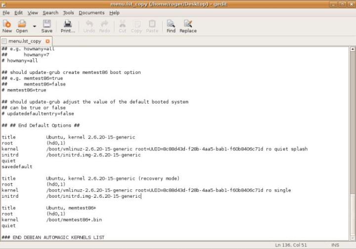 GRUB Ubuntu boot