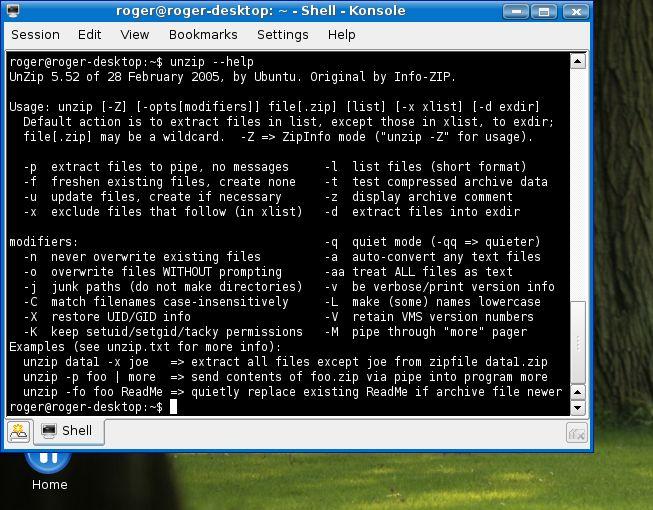 Linux commands - unzip