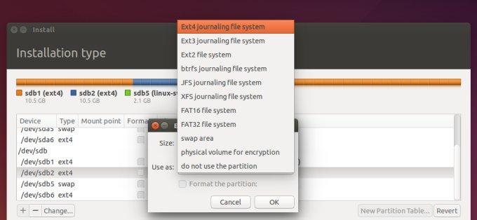 Filesystem selection