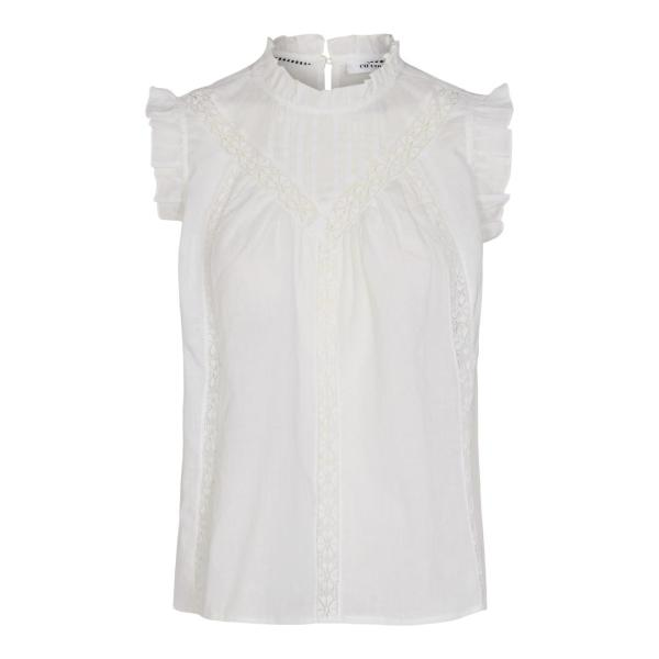 Lola Linnen Frill Blouse - Co'Couture - Wit