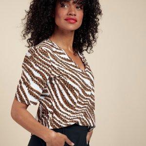 Sophia SSL Tiger Shirt – Studio Anneloes – Off White Caramel Nieuw Shirt