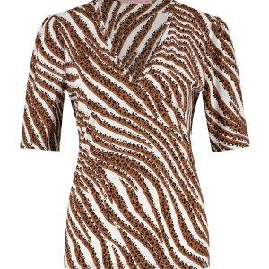 Sophia SSL Tiger Shirt - Studio Anneloes - Off White Caramel