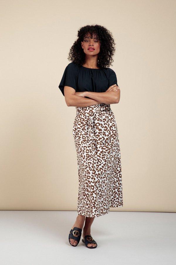 Sadie Leopard Skirt – Studio Anneloes – Off White Caramel Nieuw Rok
