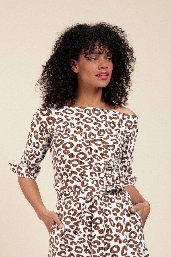 Dolly Leopard Shirt – Studio Anneloes – Off White Caramel Nieuw Shirt