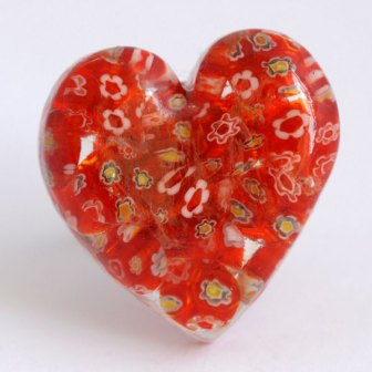 Anel coração com contas milefiori