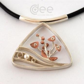 pendente de prata e cobre com perola