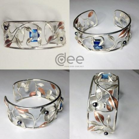 pulseira em prata e cobre com perolas e topazio