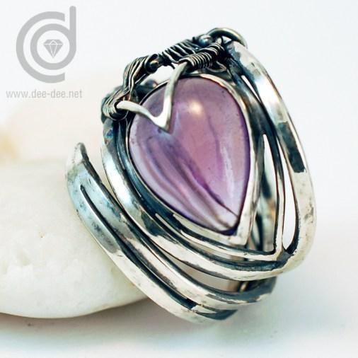anel ajustavel em prata com ametista