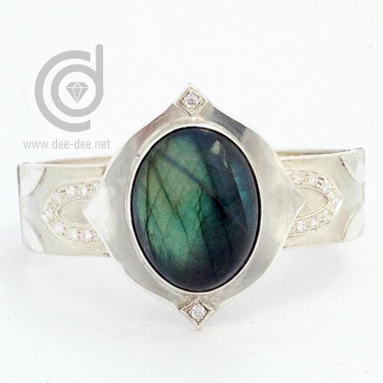 pulseira articulada em prata com labradorite e zirconias