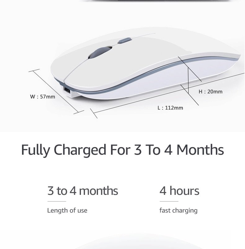 Wireless Mouse Computer Bluetooth Mouse Silent PC Mause Rechargeable Ergonomic Mouse 2.4Ghz USB Optical Mice For Laptop PC