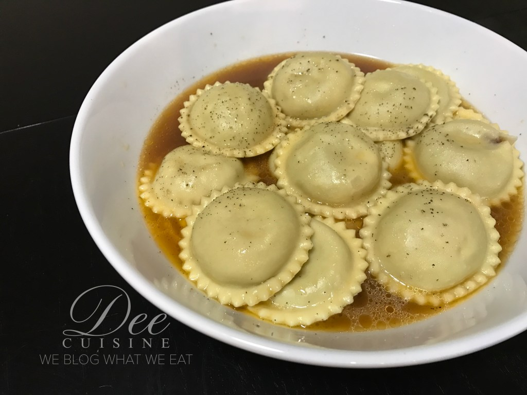 Beef Ravioli with beef broth/brown butter