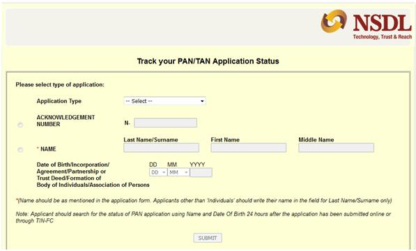 Online PAN CARD Status