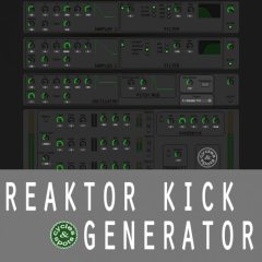 Reaktor Kick Generator <br><br>&#8211; 1 Reaktor Ensemble Instrument (Integrated Samples, Oscillator, FX, Randomize Button)