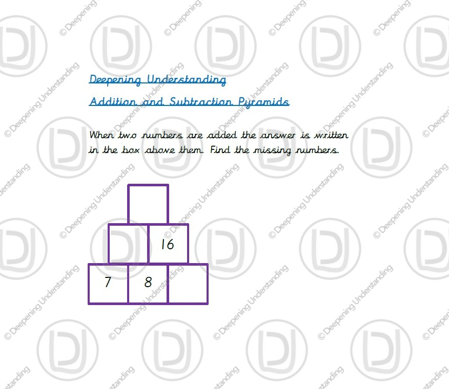 Year 2 – Addition and Subtraction Pyramids