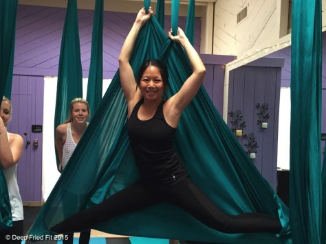Aerial yoga yall at YogaUp. One day I'll be able to do the splits.