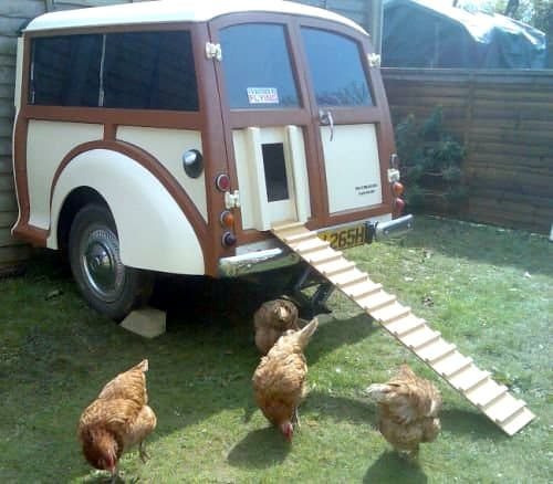 chicken house made our of a car, recycling at its best,