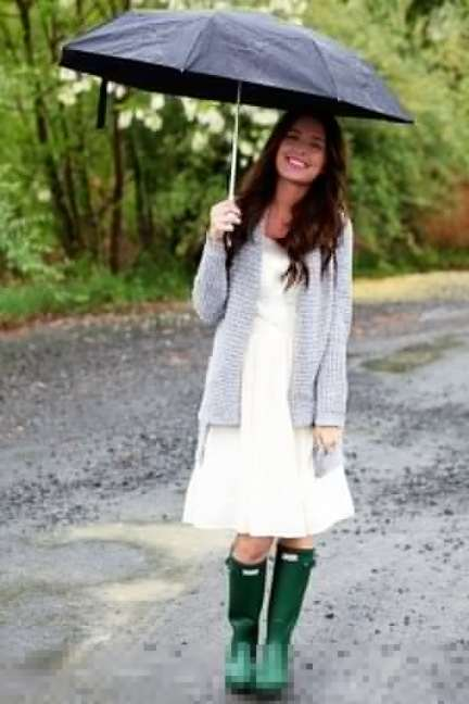 A Portrait Of Feminine Dress, Part 5~ Around The House, wellies, wellingtons, classic, green boots, gravel lane, feminine, modest, umbrella, woman in the rain, water boots, galoshes
