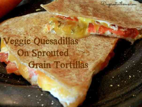 Veggie Quesadillas On Sprouted Grain Tortillas, quesadilla with cheese, tomato, and sour cream