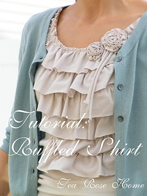 A Portrait Of Feminine Dress, Part 6~ Ruffled Tops and DIY Tutorials, modest, tops, clothing, classic, pretty, easy, sewing, crafting, homemaking, re-purposed tees, DIY, flowers, tutorial, model, woman, 3/4 sleeve, long sleeve, fabric flowers, fabric leaves, ruffles, edging, frilly, feminine, Tea Rose Home, shirt, cream, cotton cardigan,