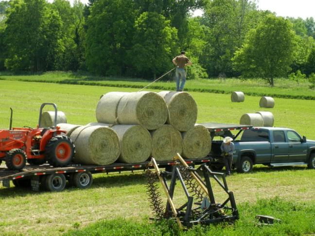 (Some Of) The Best Gifts To Give Your Family All Year Long ~Part 2, loading hay on trailer, father and son working together, farming, big round bales
