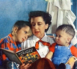 Character-Building Book Resources For Raising Boys, Part 1, vintage art, mother reading to children, living books, mom in rocking chair
