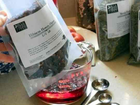 3 Ingredient Kool-Aid Recipe, ADHD, ADD, children, replacing soft drinks, candy, red coloring, dried herbs, hibiscus flowers, stevia herb, Bulk Herb Store, red color, alternative to red food dye, peppermint herb, herbal remedies,