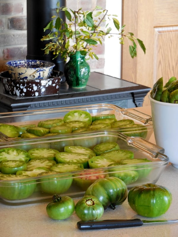 green tomatoes, fried, oven-roasted,