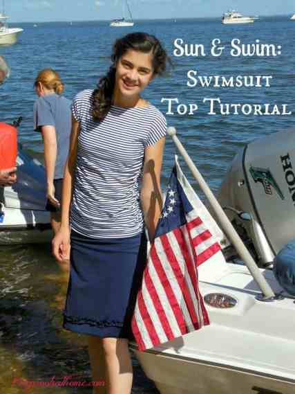 Sun & Swim: Swimwear Tutorial {and a Review}, Chesapeake Bay, nautical, jet ski, Land's End fashion, ruched swim top, elastic ruching, how-to tutorial, quick dry swim fabric, stripes, stretch, stretchy fabric, sewing, red, white, and blue, summer time, water wear,