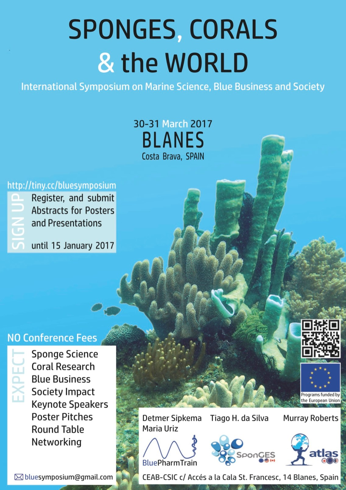 The Blue Symposium is jointly organised by the EU-funded project BluePharmTrain, SponGES and Atlas.