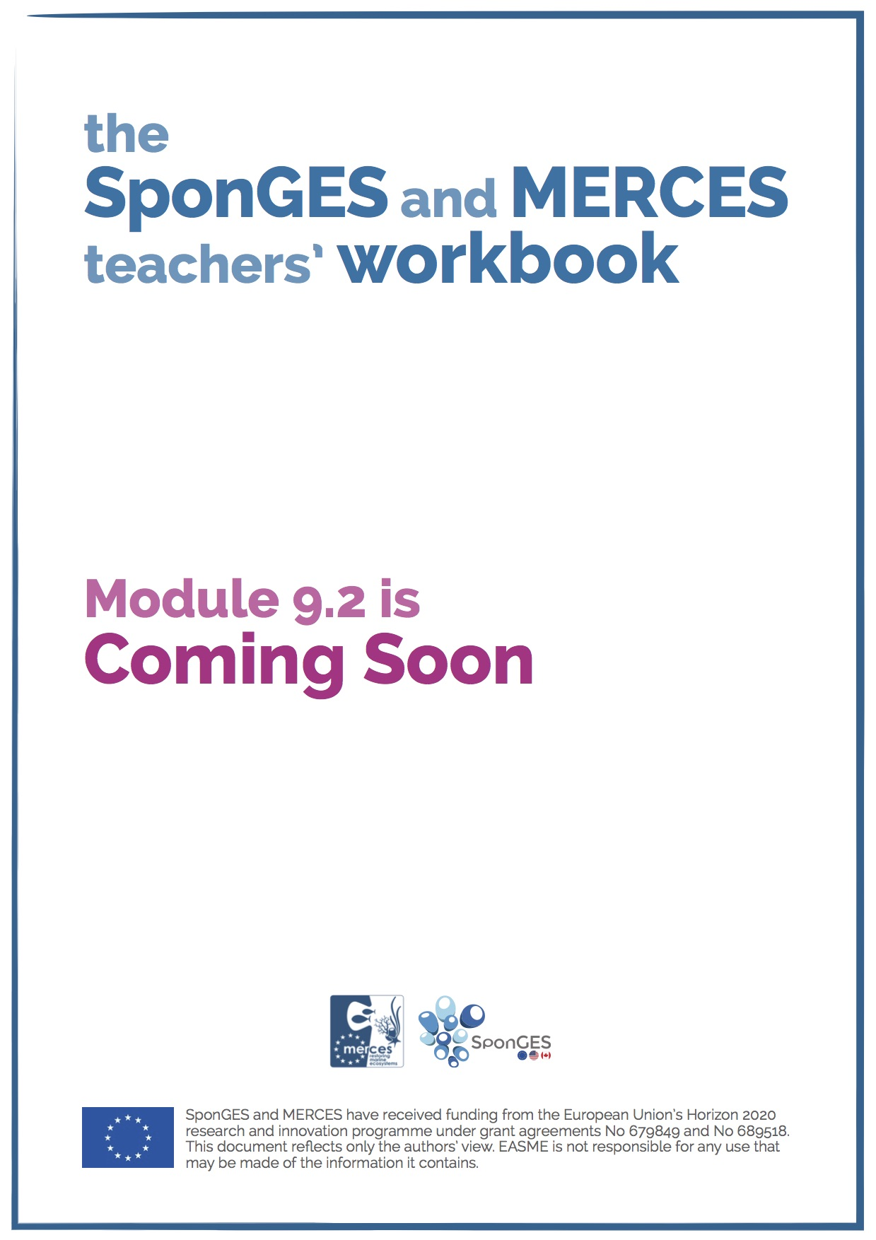 Module 9.2 of the SponGES and MERCES teachers' workbook