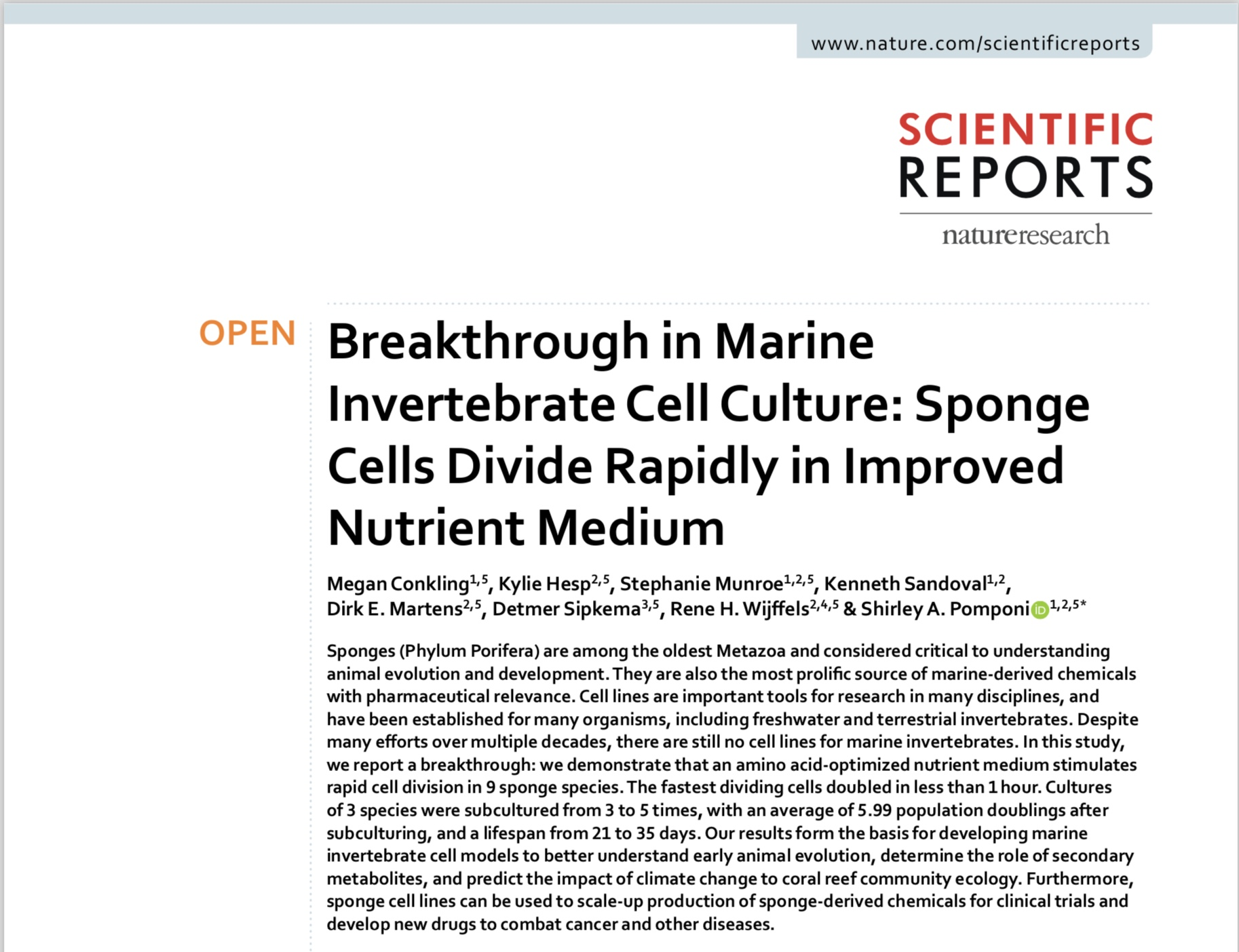 Abstract of the paper Breakthrough in marine invertebrate cell culture: Sponge cells divide rapidly in improvednutrient medium