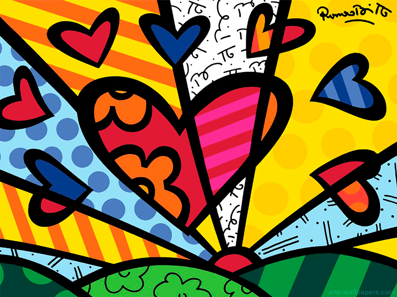 Romero Britto Inspired Hearts Deep Space Sparkle