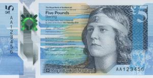 Ritratto di Nan Shepherd sulla banconota di 5 sterline scozzesi