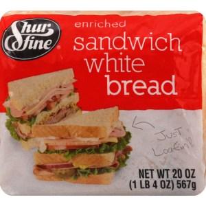 SHURFINE WHITE SANDWICH BREAD, 20OZ